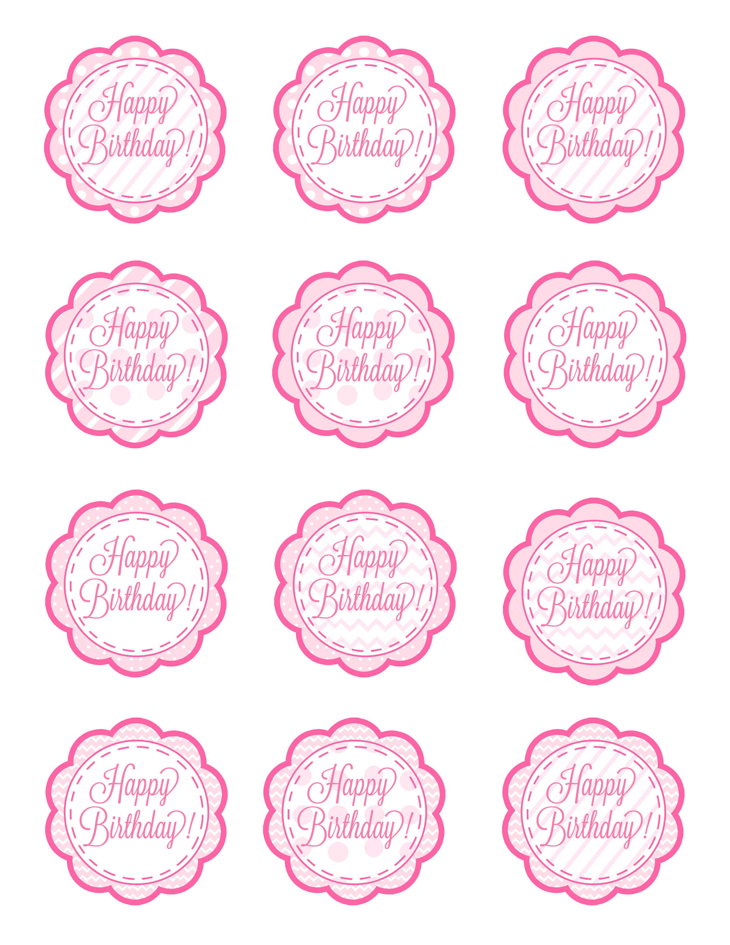 6 Images of Free Printable Birthday Cupcake Toppers