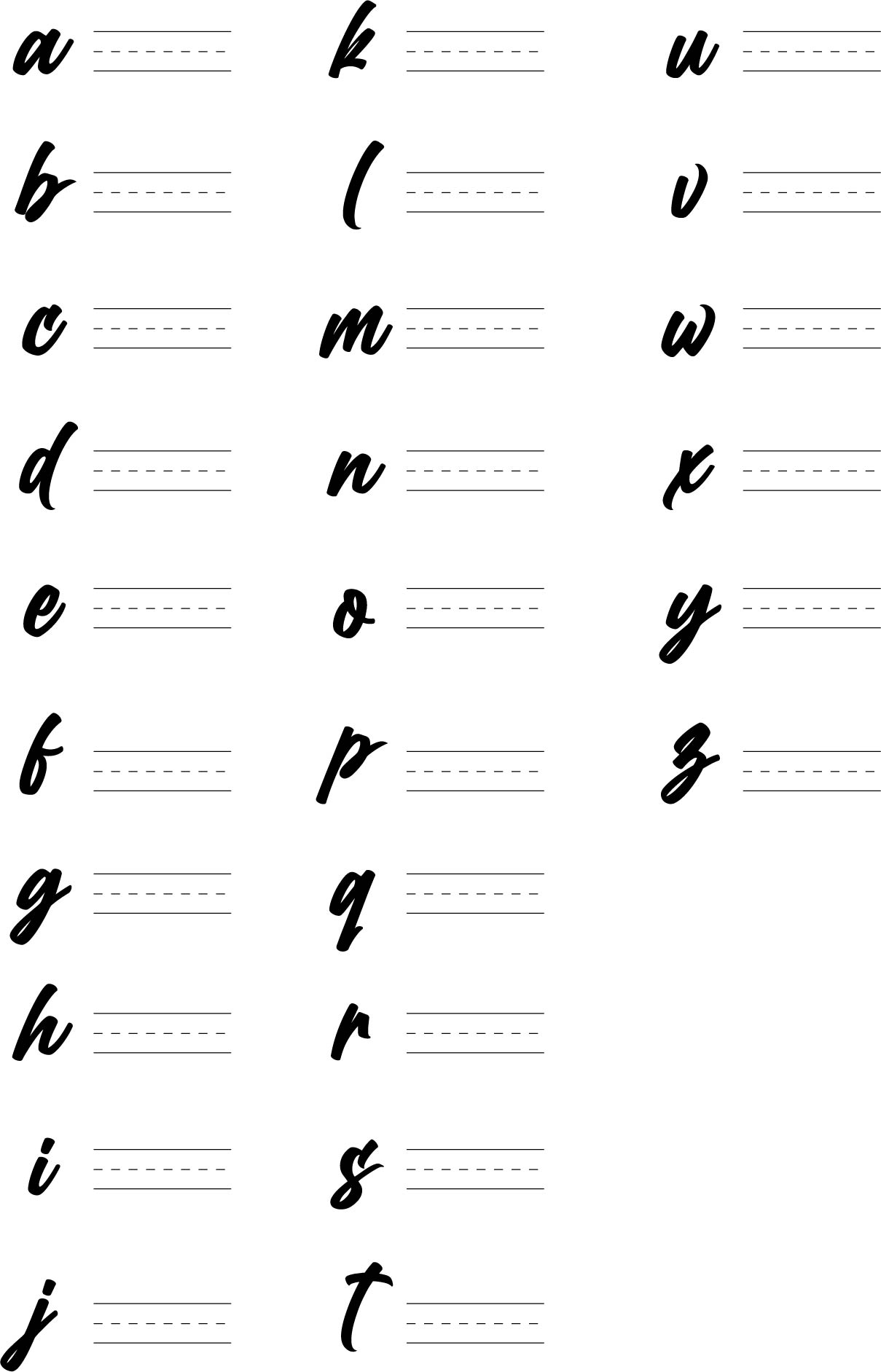 Printable Calligraphy Alphabet Practice Sheets