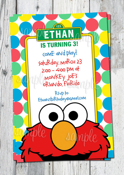 8 best images of elmo birthday invitations printable for Elmo template for invitations
