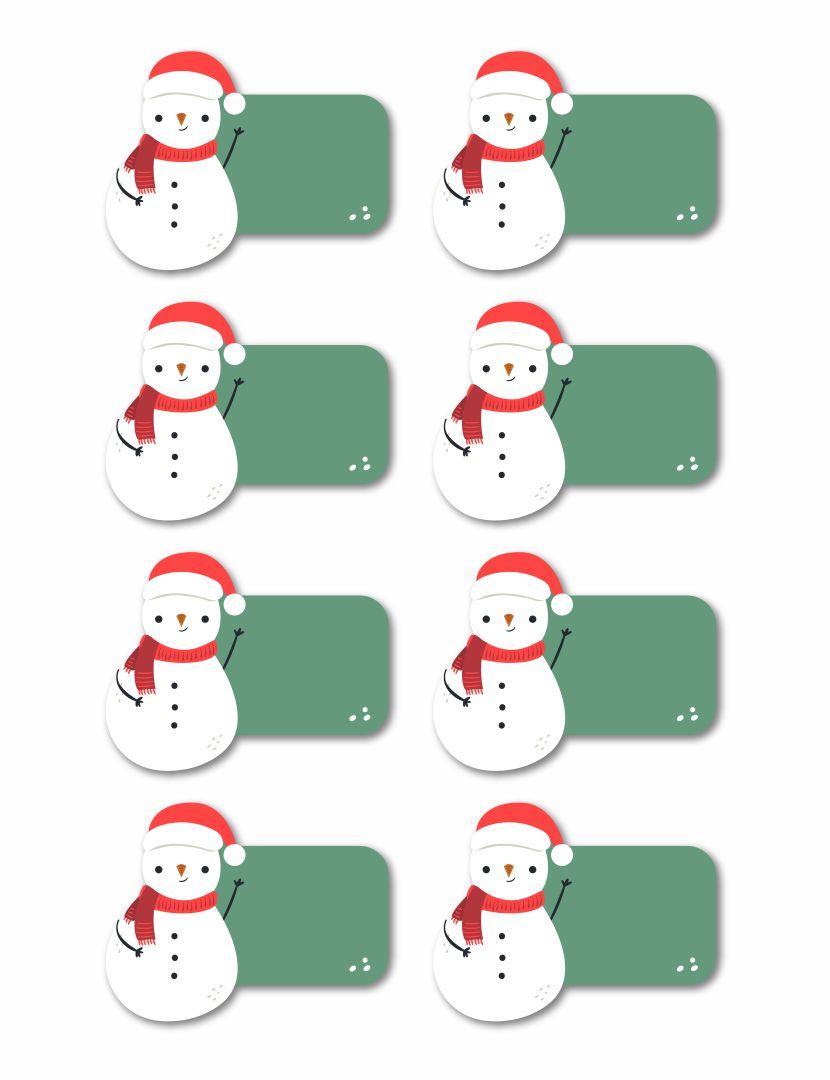 Printable Snowman Name Tags