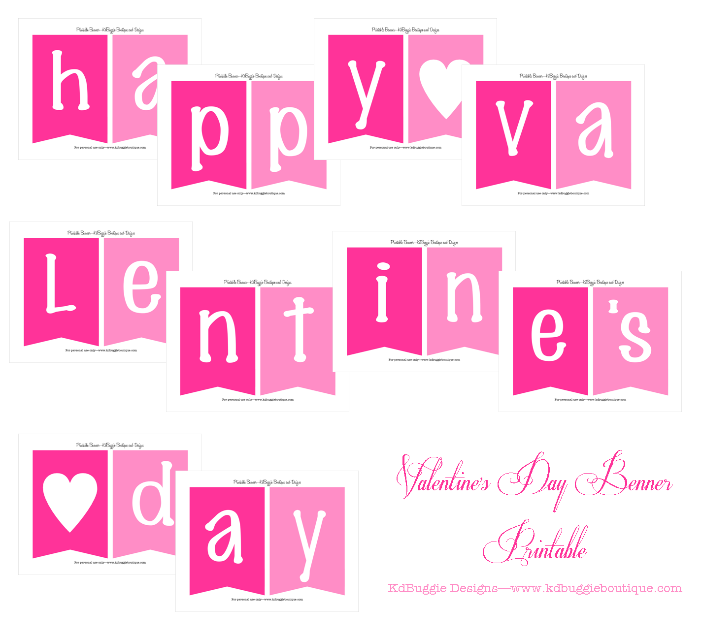 6 Images of Day Valentine's Banner Printable