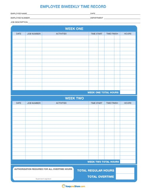 7 Images of Free Printable Bi-Weekly Time Sheets