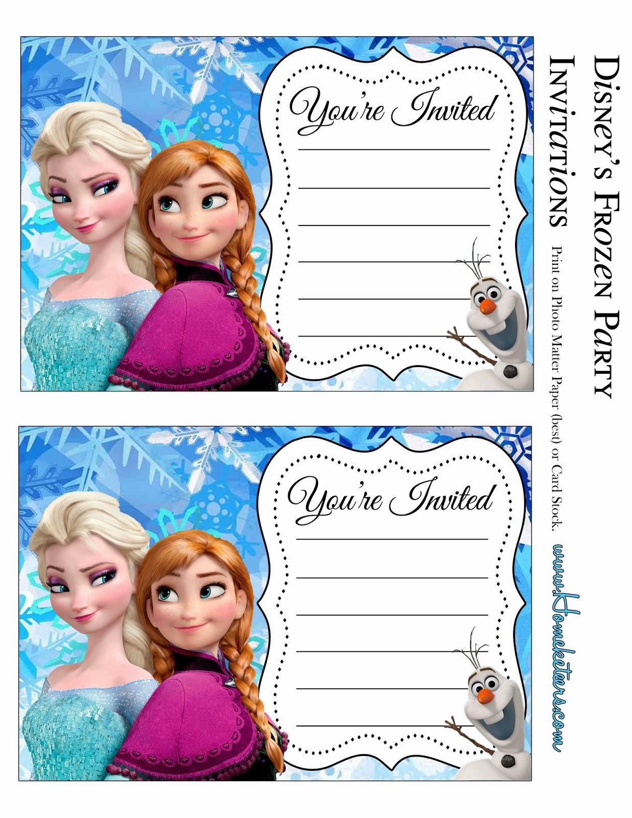 Frozen Invitation Printable Free
