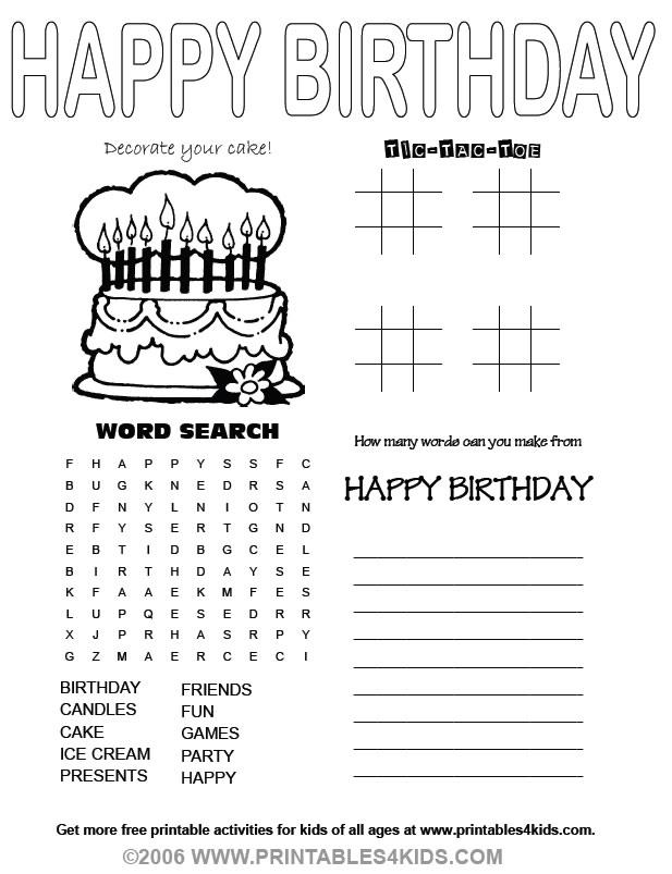 Happy Birthday Activity Printables