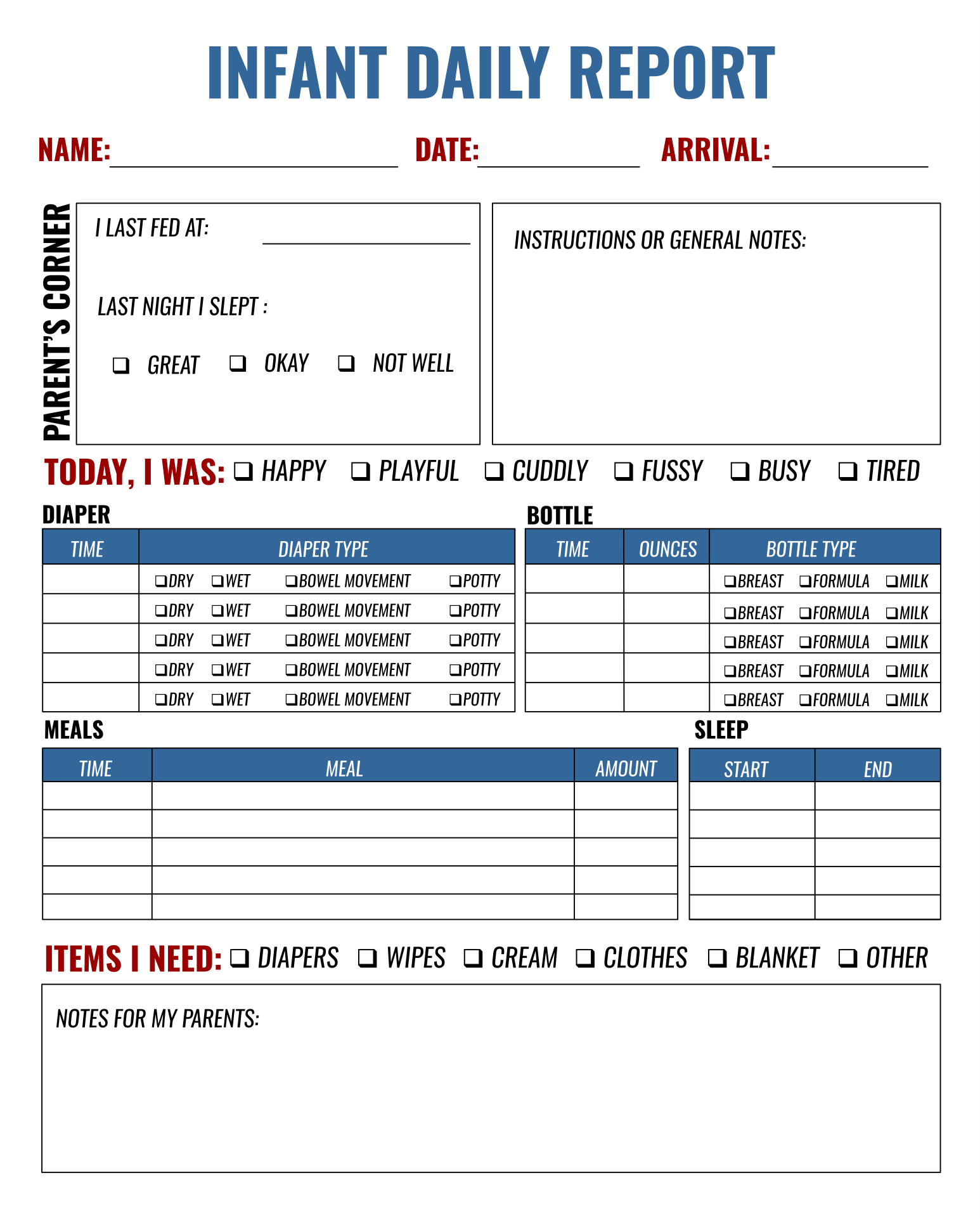 Infant Toddler Daily Report Sheets