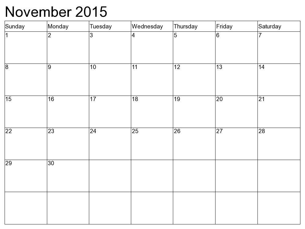 7 Images of November 2015 Calendar Printable Free