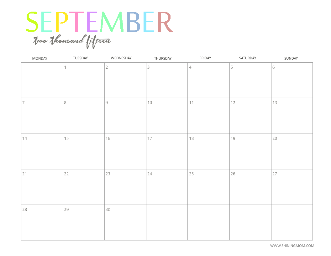6 Images of September 2015 Monthly Calendar Printable