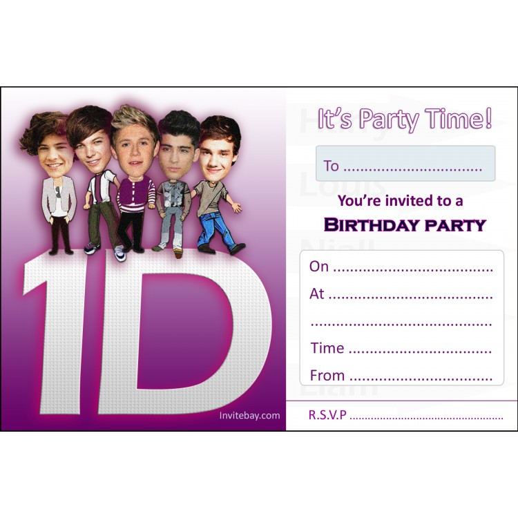 One Direction Printable Birthday Cards