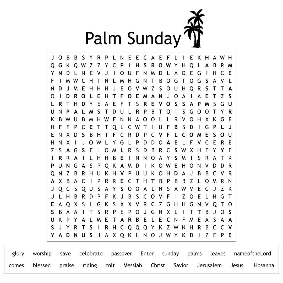 Palm Sunday Word Search Puzzle