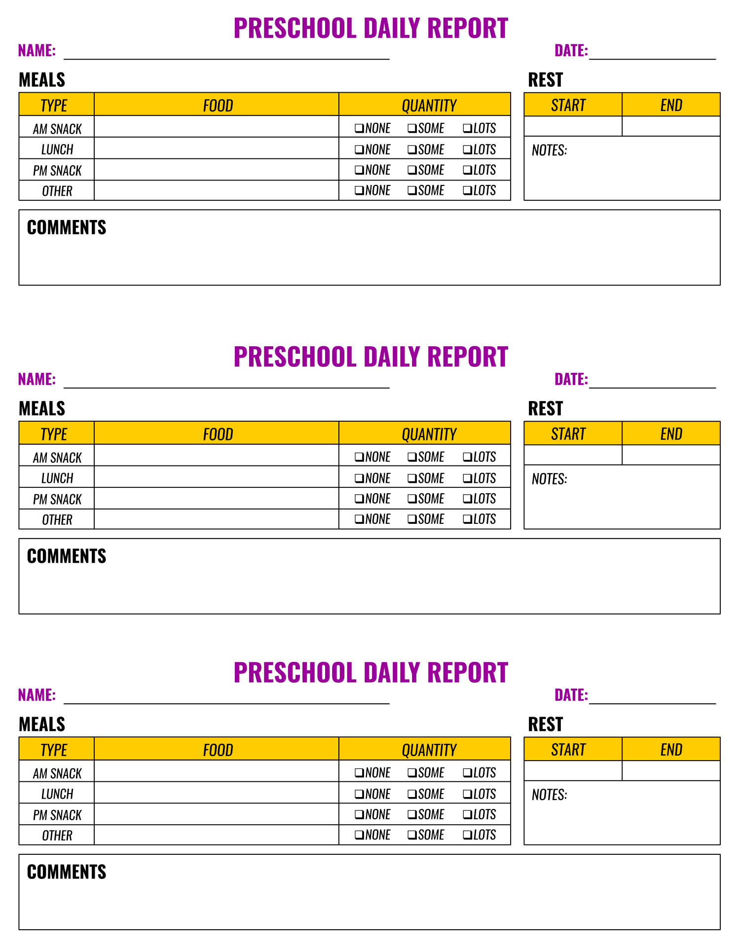 Preschool Toddler Daily Sheets