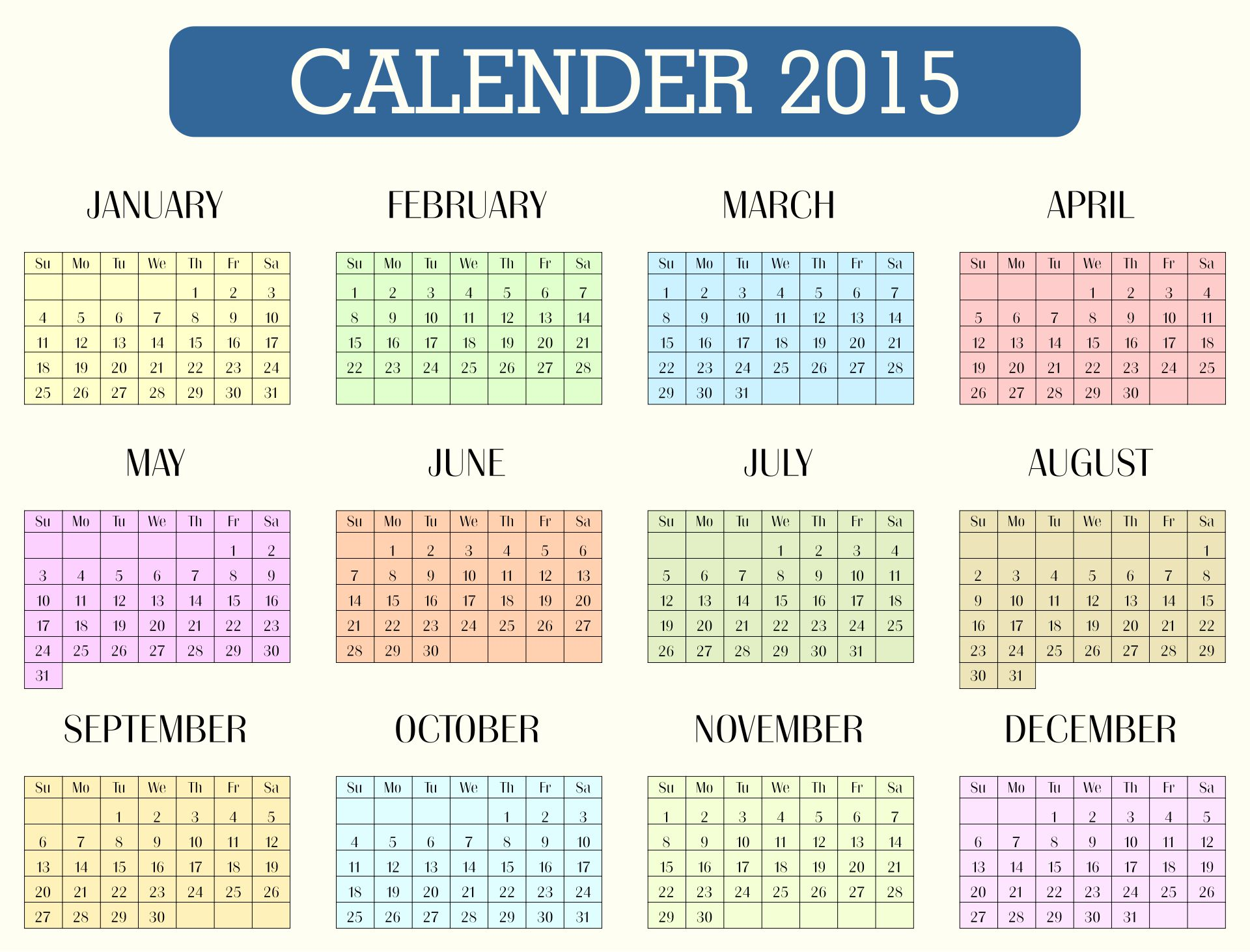 Printable 2015 Monthly Calendar Template June