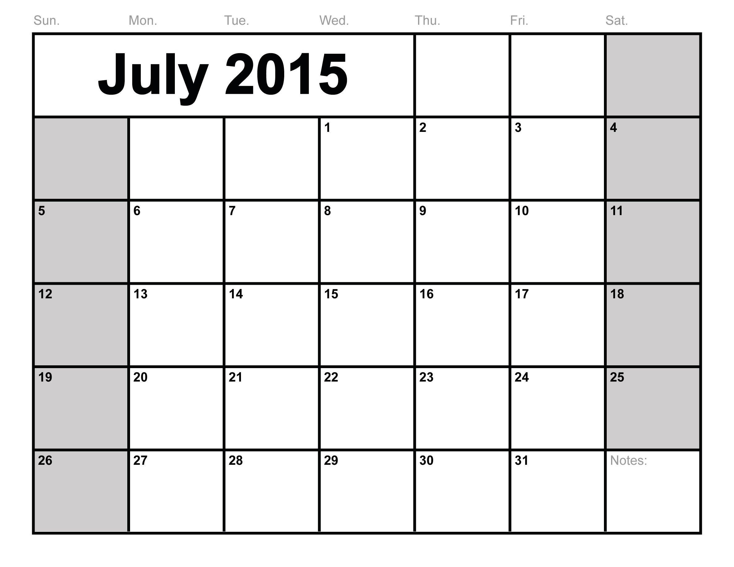 8 Images of July 2015 Monthly Calendar Printable