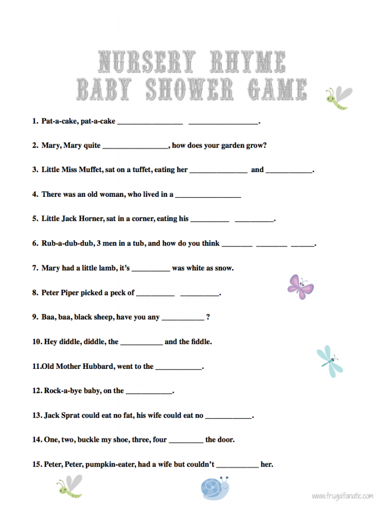 answers baby shower nursery rhyme game answers baby shower game