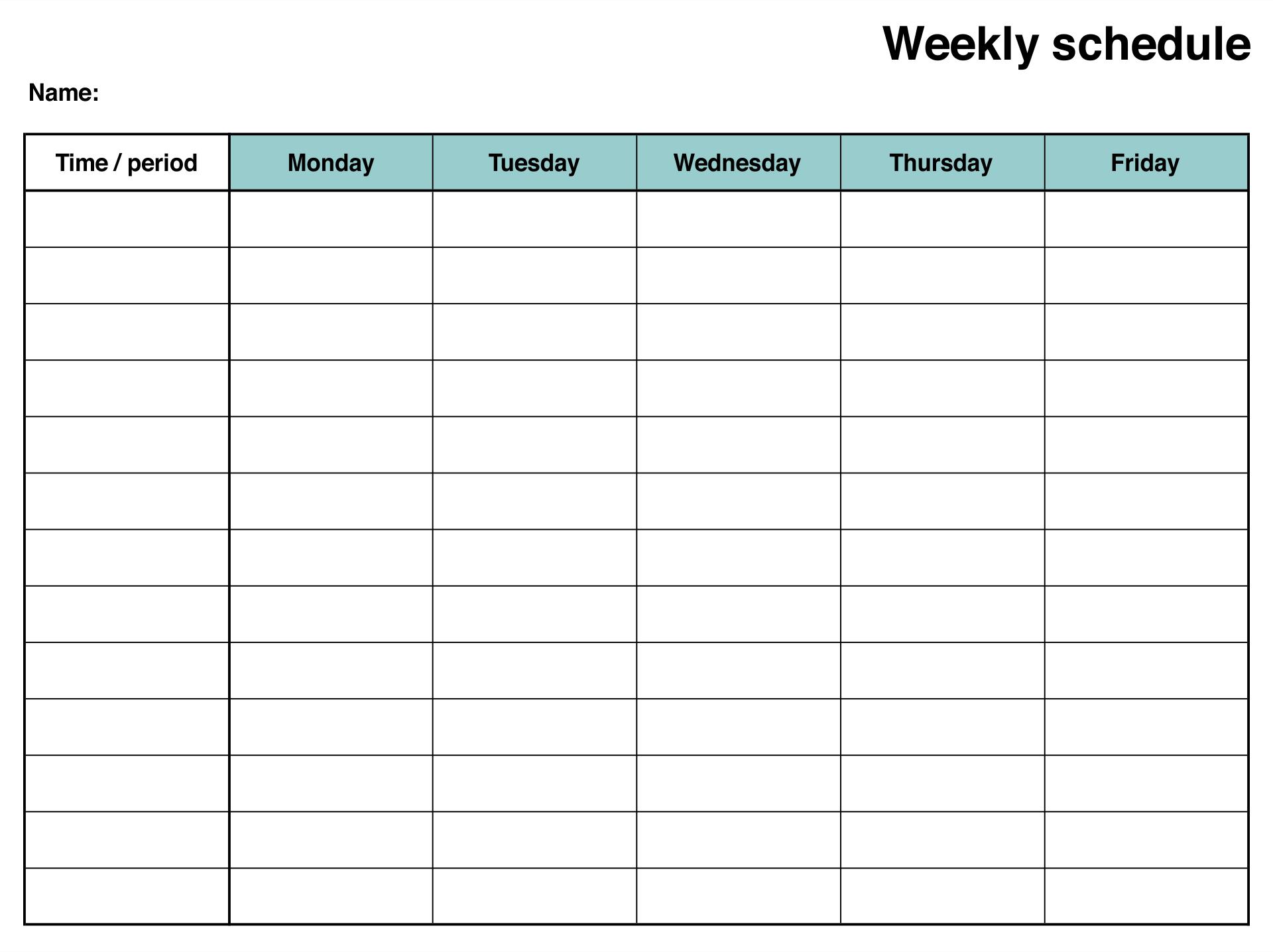 Printable Blank Weekly Schedule