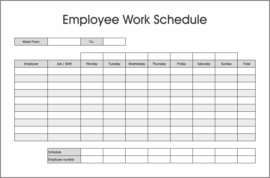 10 Best Free Printable Blank Employee Schedules ...