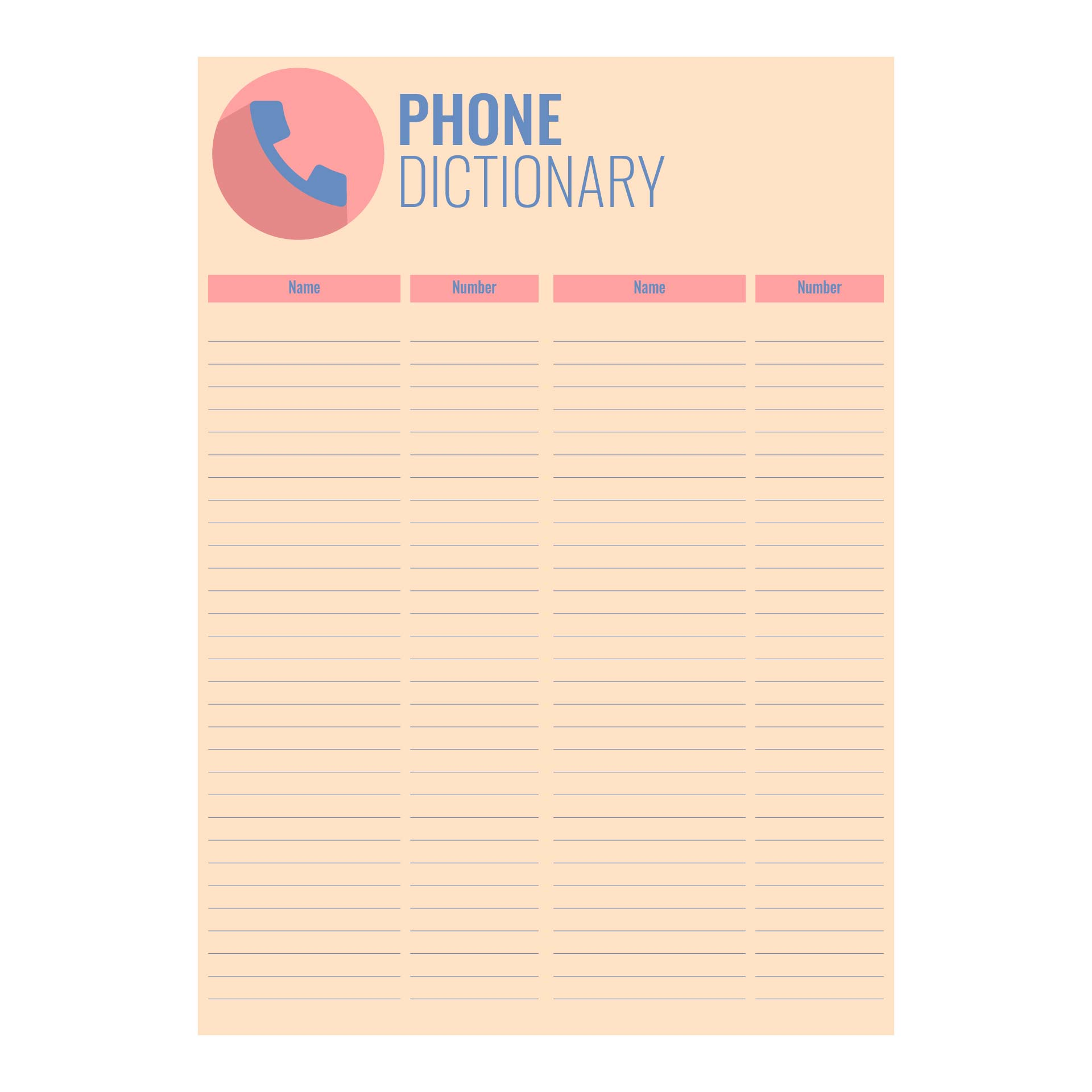 Printable Phone List Template