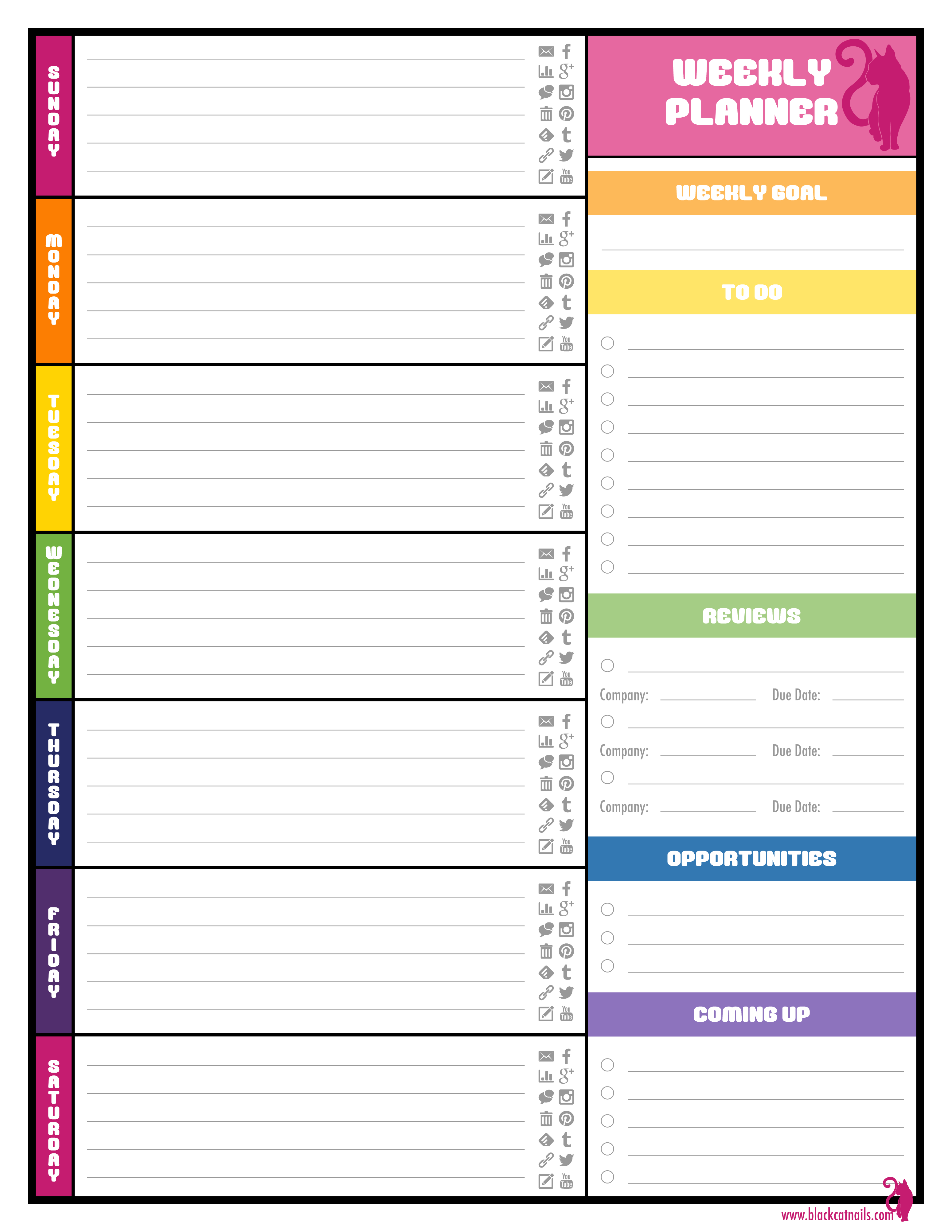 8 best images of cute printable school schedule template for Sunday through saturday calendar template