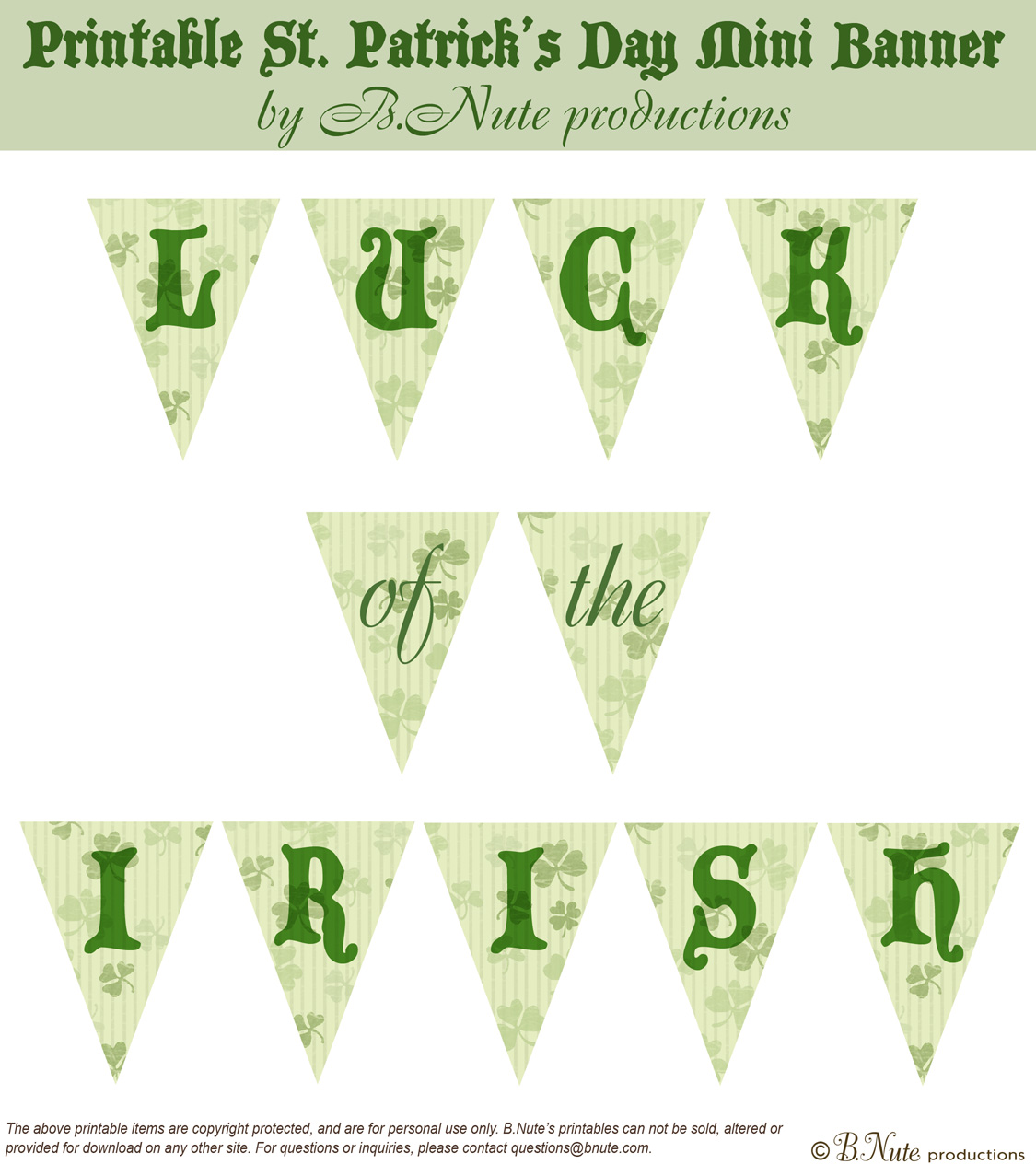 6 Images of St. Patrick's Day Banner Printable