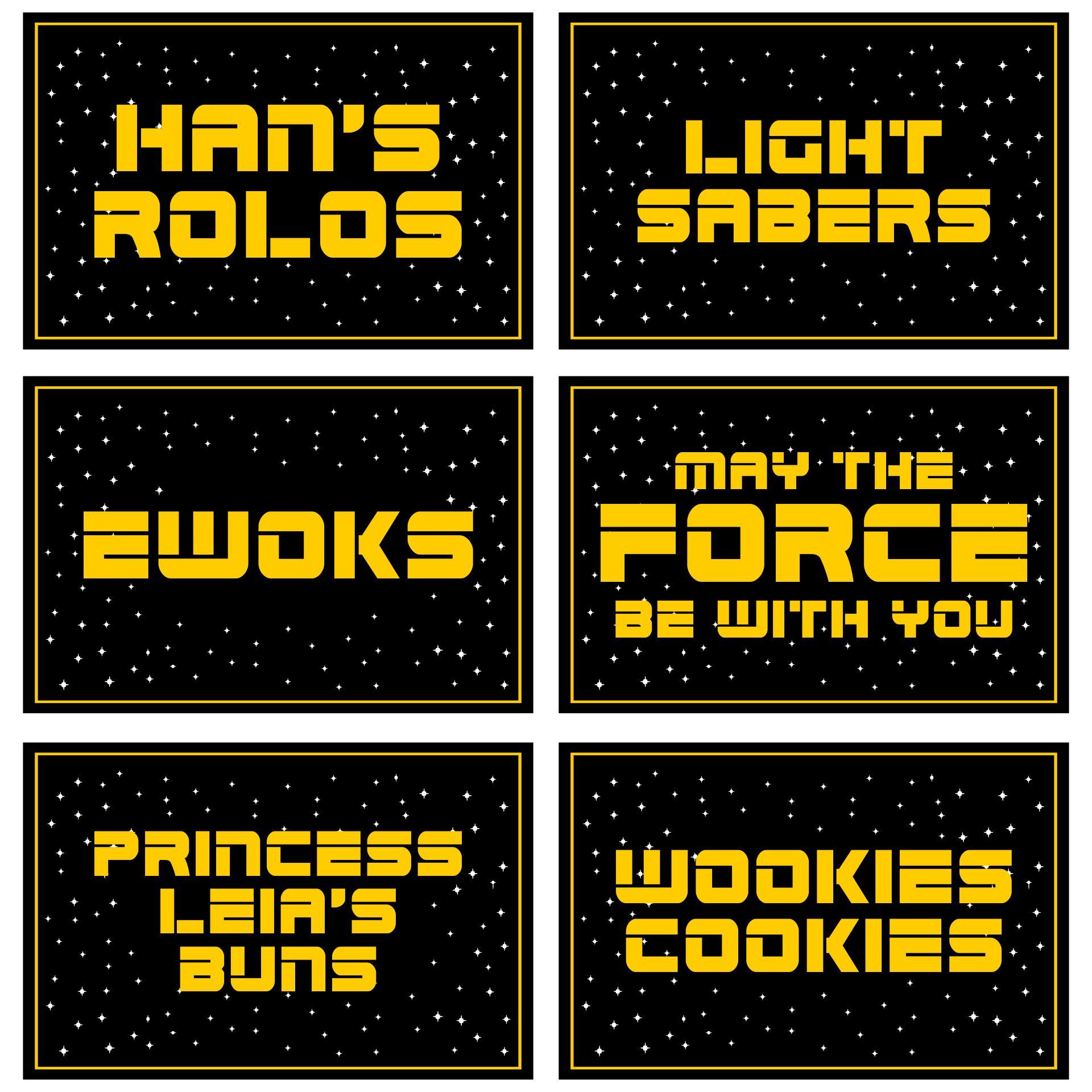 Star Wars Party Food Label Printables