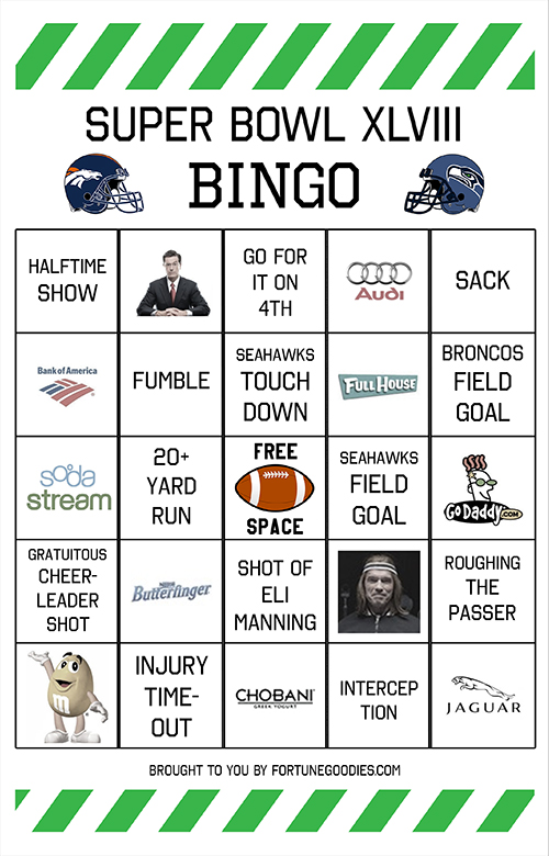 6 Images of Super Bowl Bingo Cards Printable