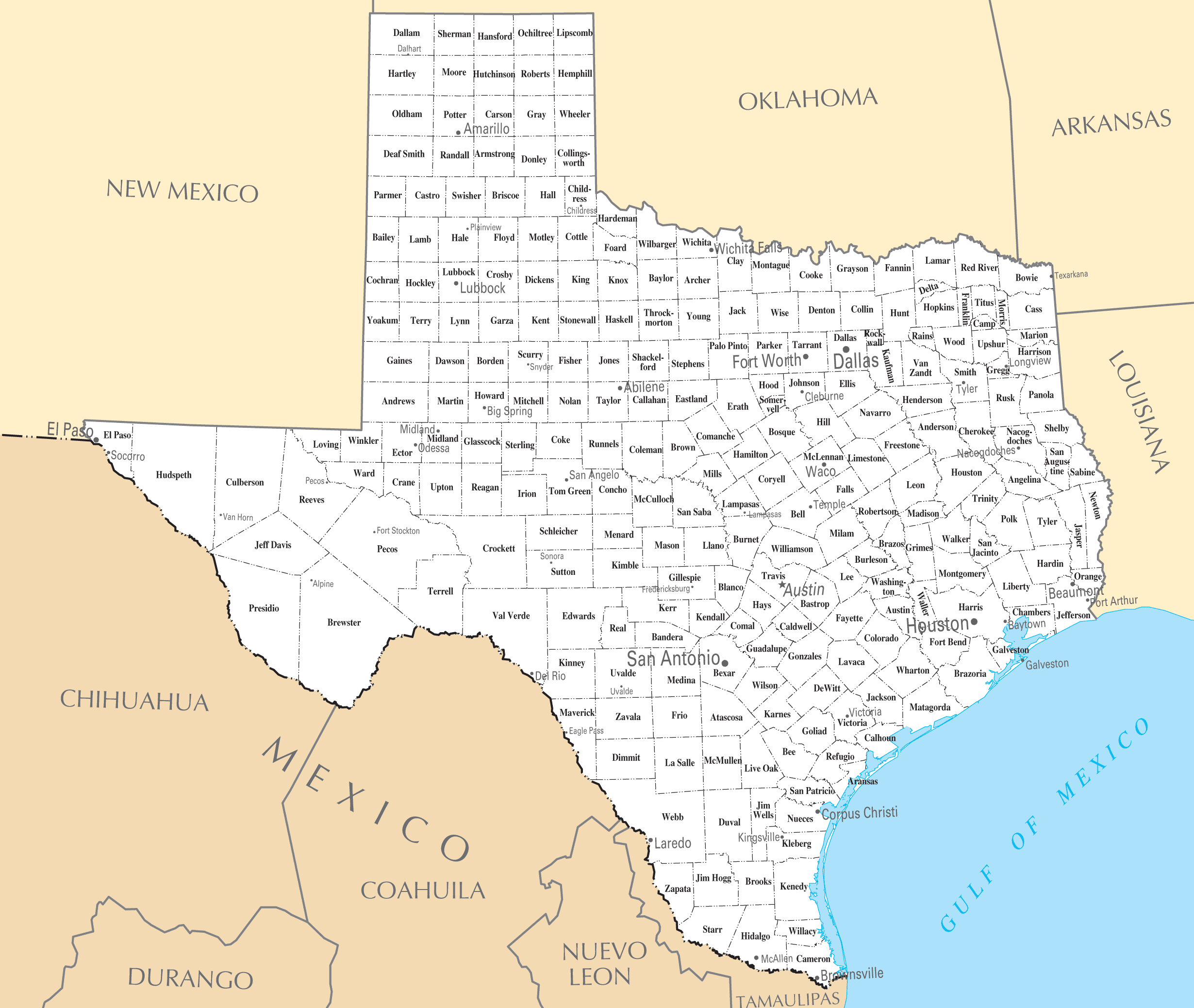 This is a picture of Mesmerizing Printable Maps of Texas