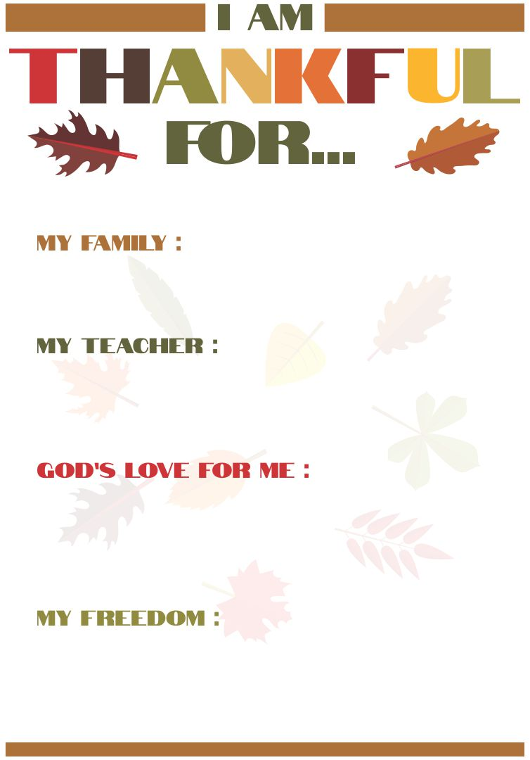 Thanksgiving Thankful Activities