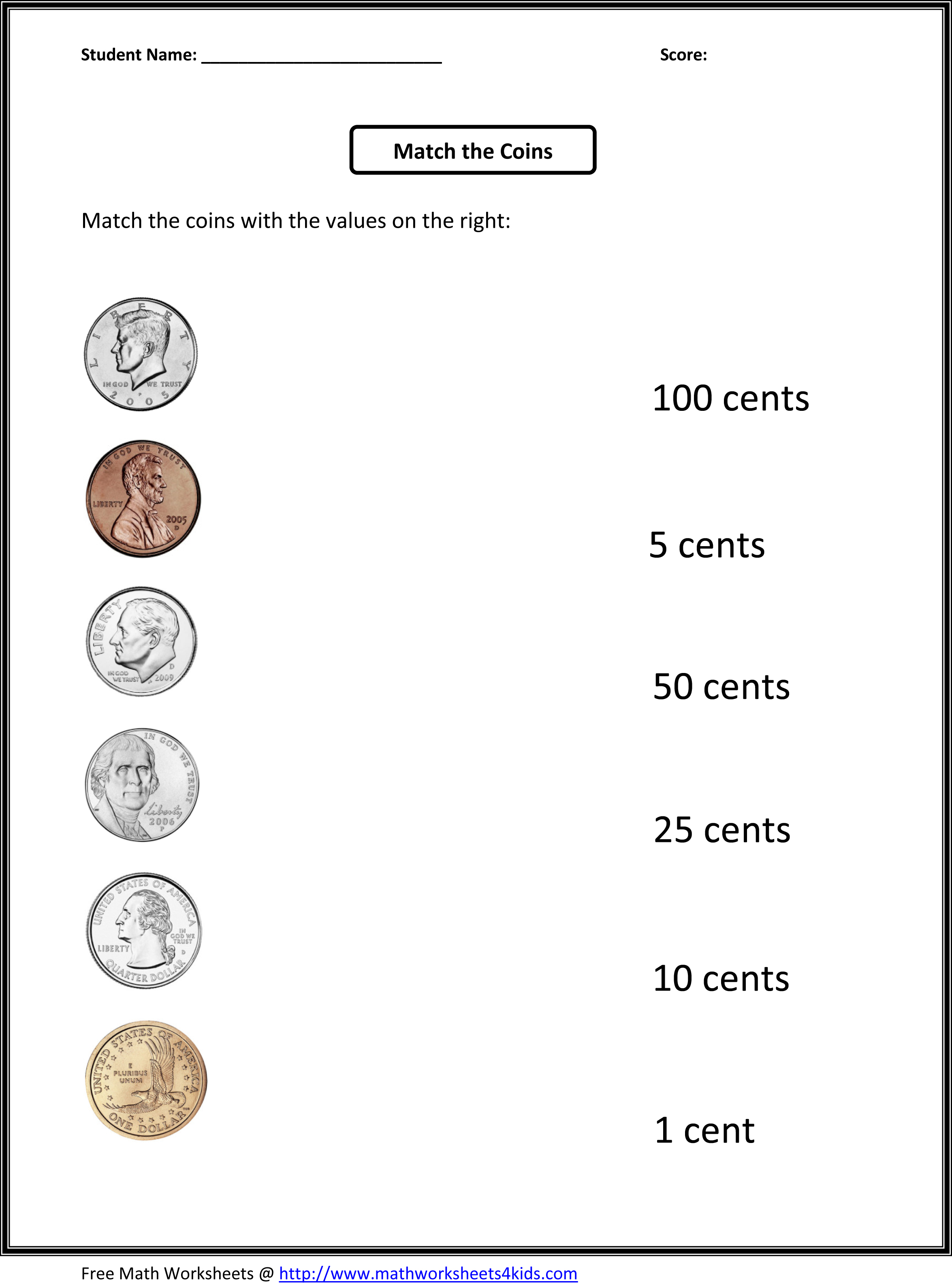 math worksheet : 6 best images of money worksheets free preschool printables  : Kindergarten Coin Worksheets