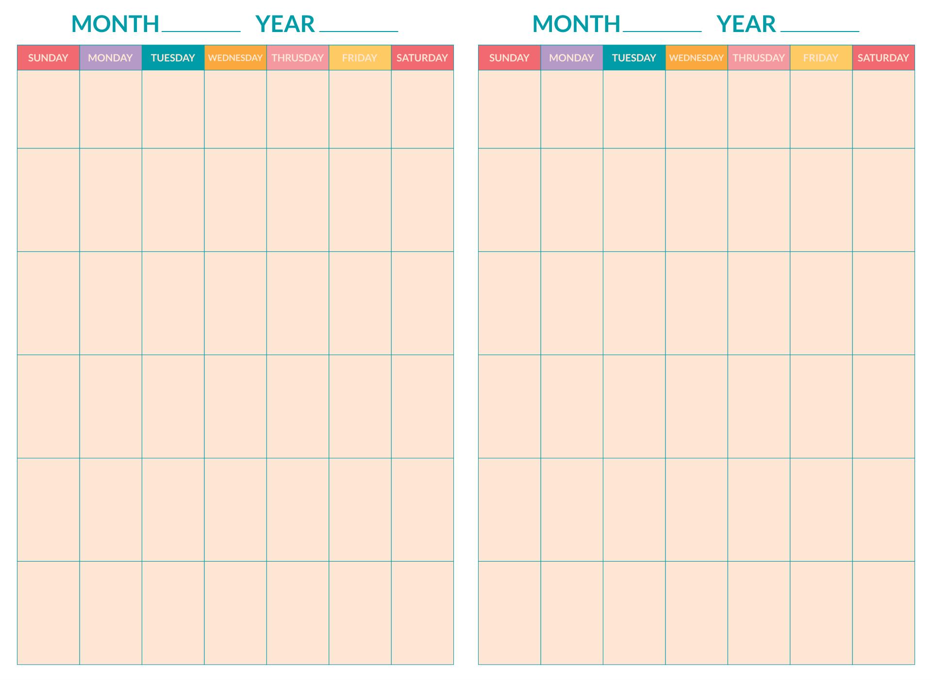 2 Week Calendar Printable Free