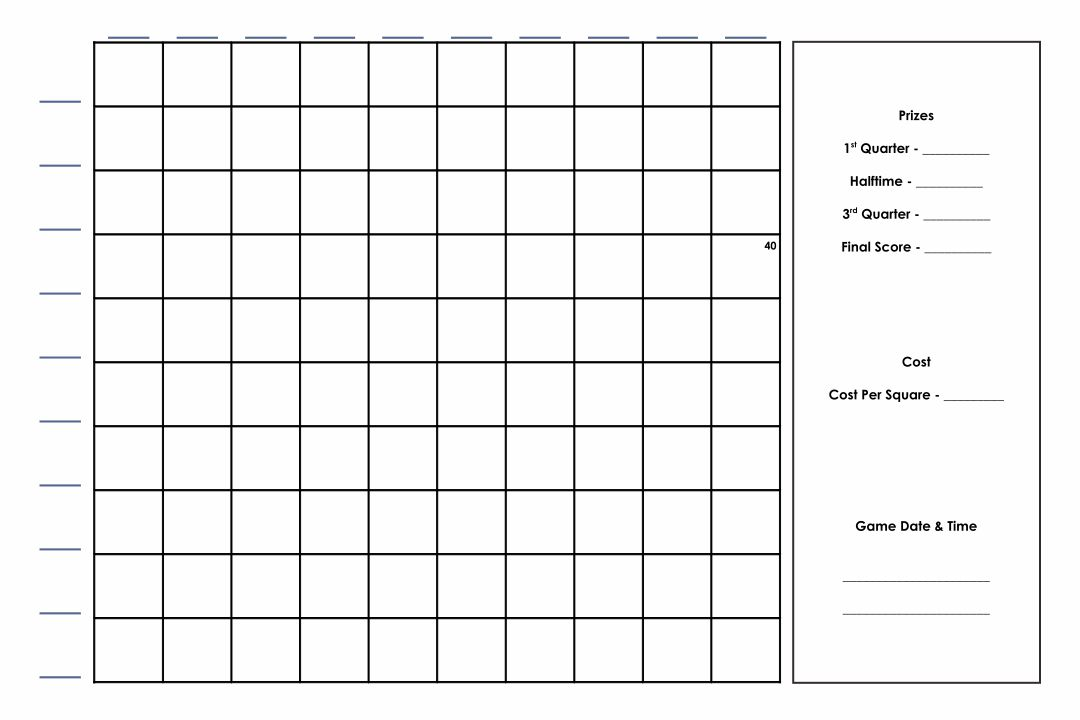 Blank 100 Square Football Pool