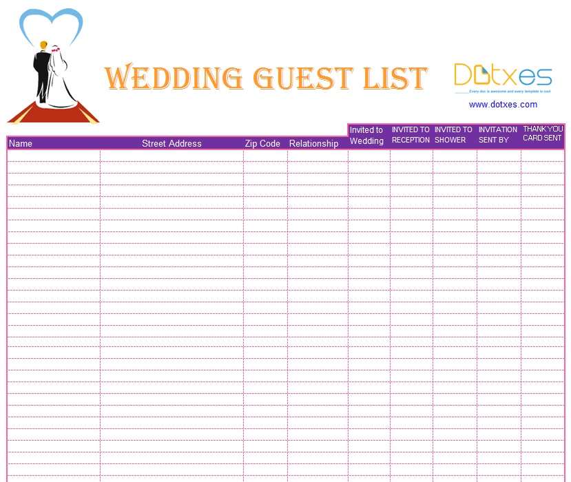 Printable Wedding Invite List - Broprahshow