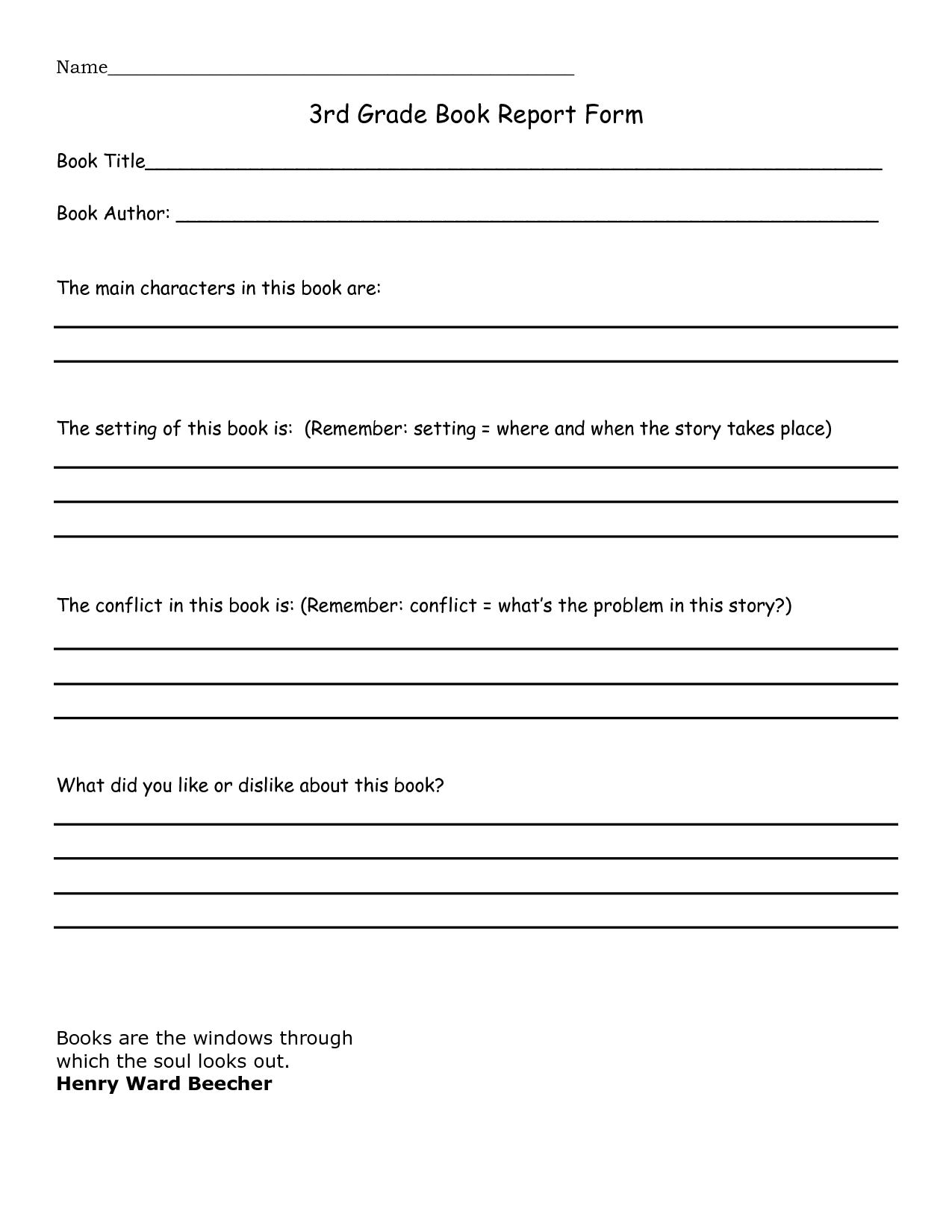 7 best images of third grade animal report printable for Writing templates for 3rd grade