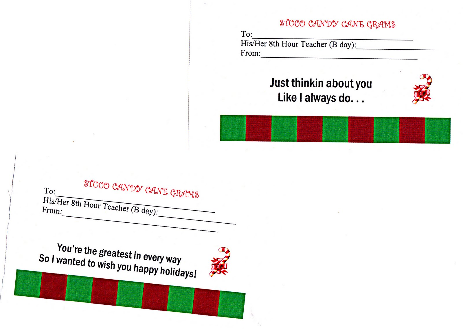 8 Images of Printable Candy Cane Gram Templates