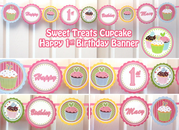 Cupcake Happy Birthday Banner Printable