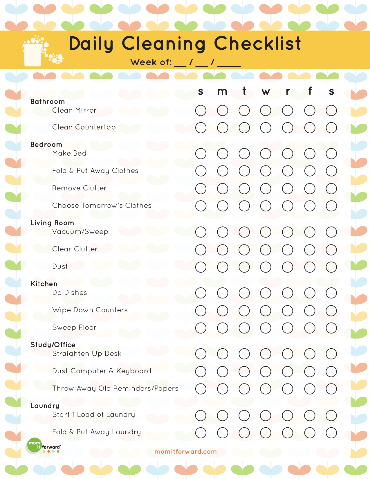 7 Images of Free Printable Daily Cleaning Checklist