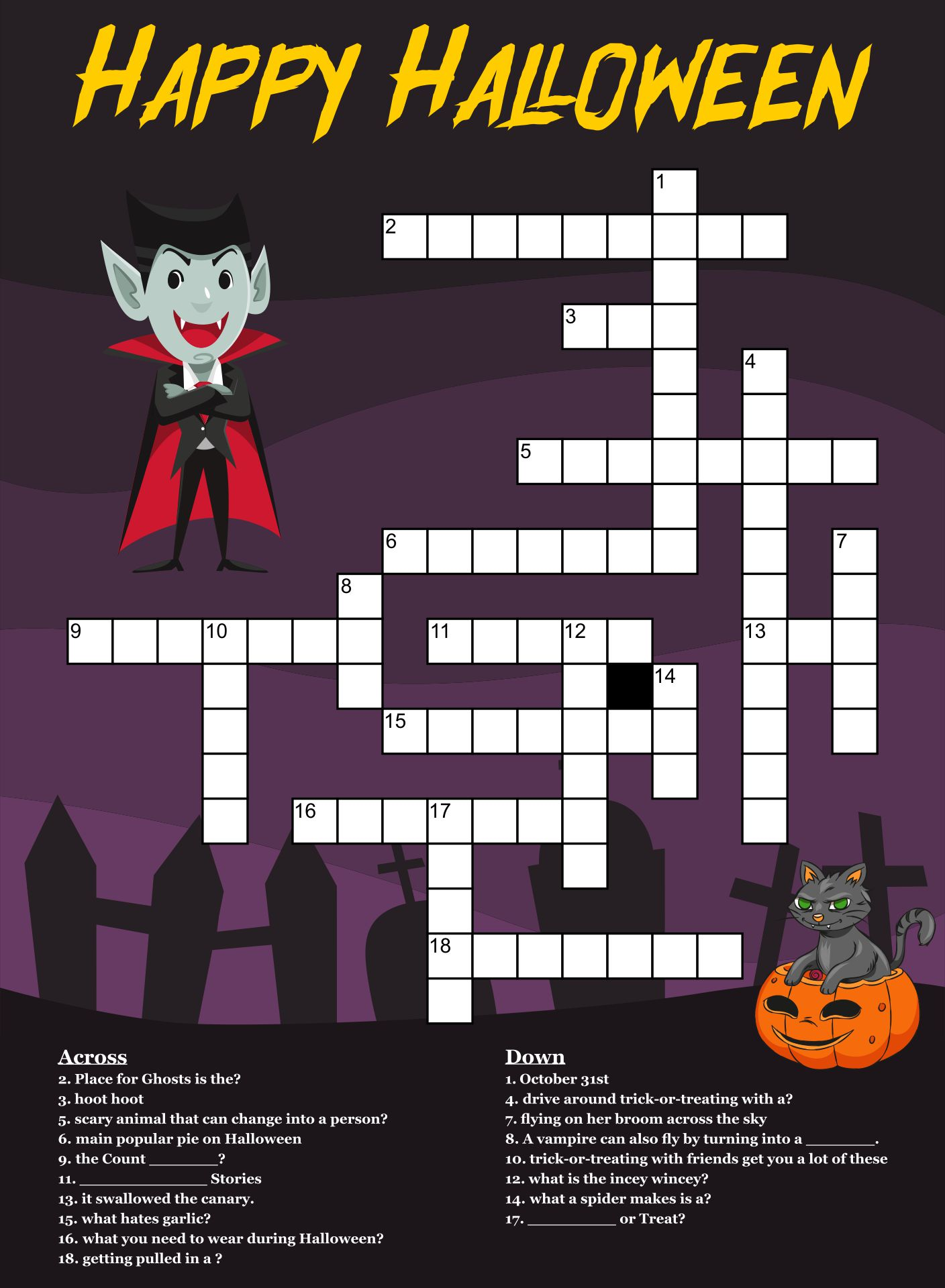 5 Images of Halloween Crossword Puzzles Printable