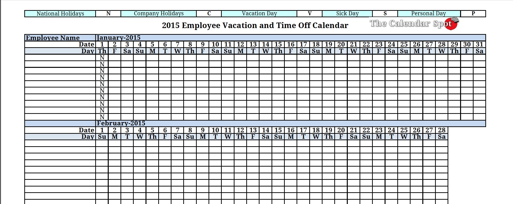 6 Images of Printable Employee Vacation Calendar