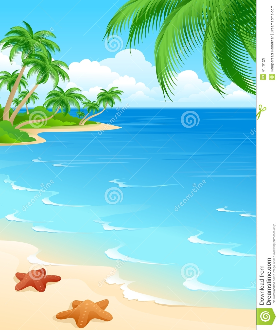 5 Images of Printable Beach Scene Clip Art