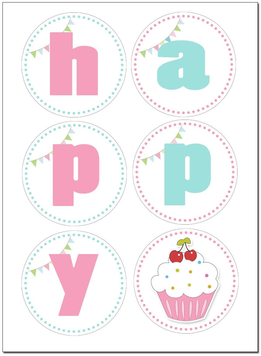 Free Printable Birthday Cupcake Banner