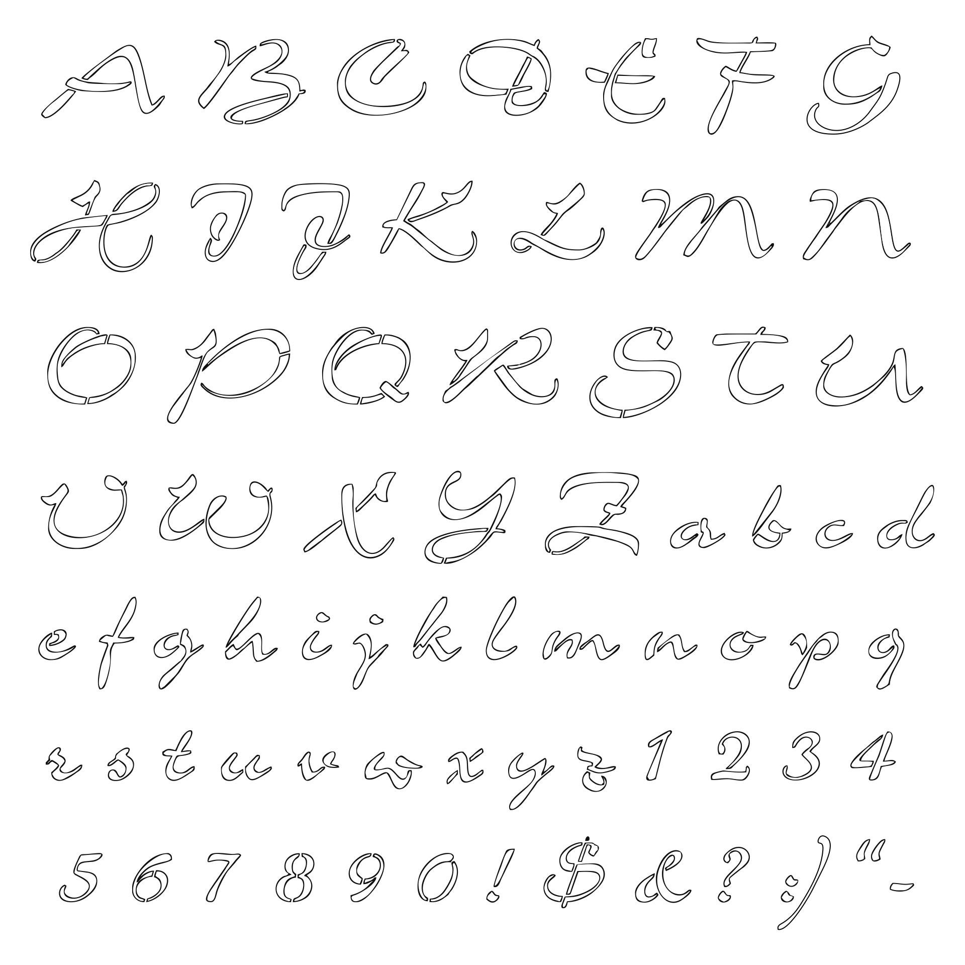 9 Images of Printable Alphabet Stencils Calligraphy Letters