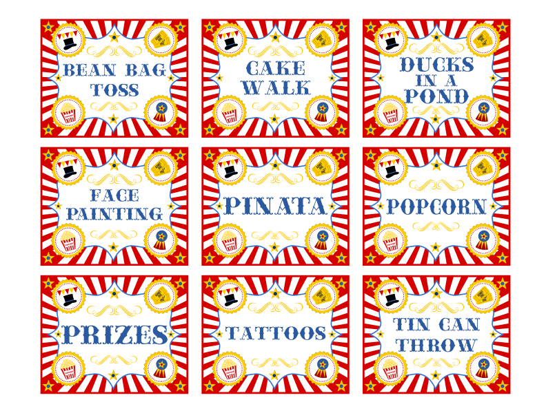 6 Images of Circus Game Sign Printables Free