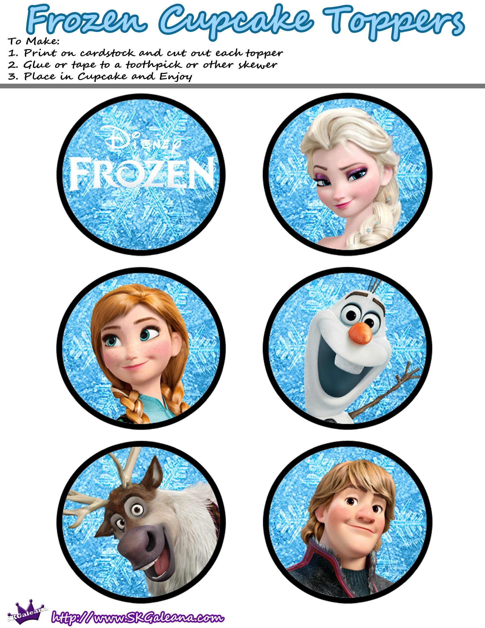 6 Images of Disney Frozen Printable Cupcake Toppers