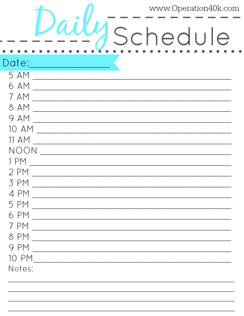 Daily Schedule Worksheet – Printable Editable Blank Calendar 2017