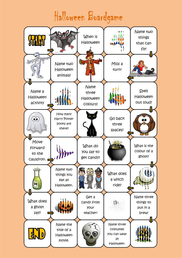 Printable Halloween Board Game