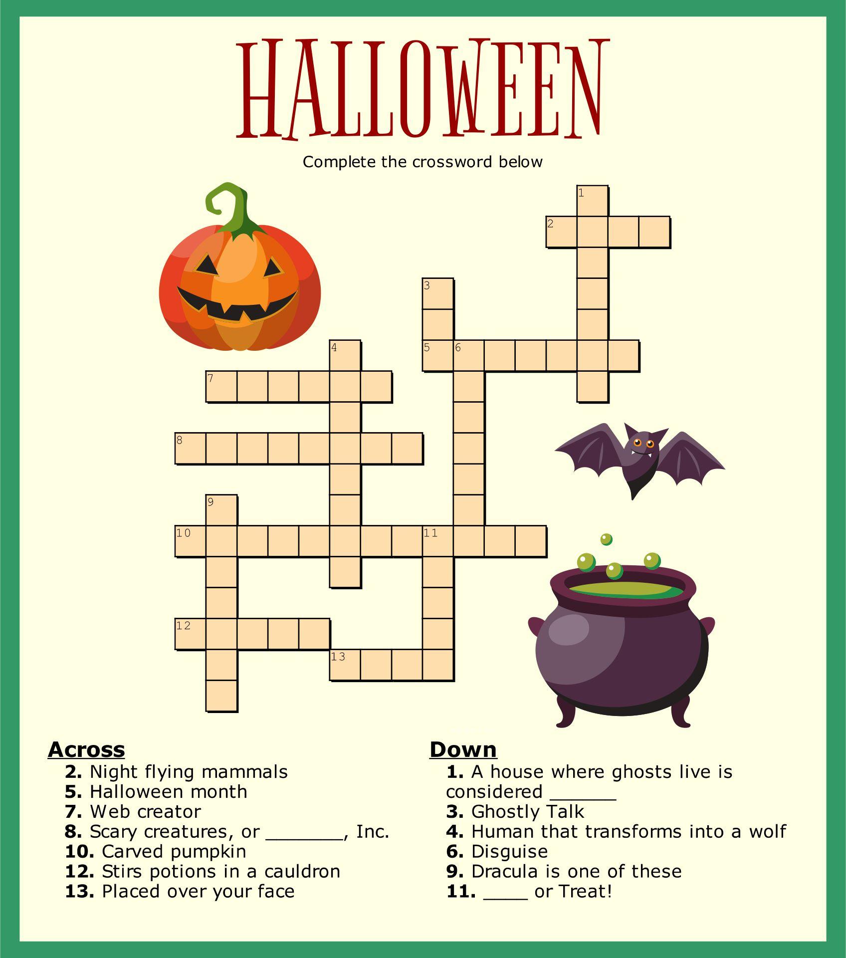 of Halloween Crossword Puzzles Printable - Easy Halloween Crossword ...