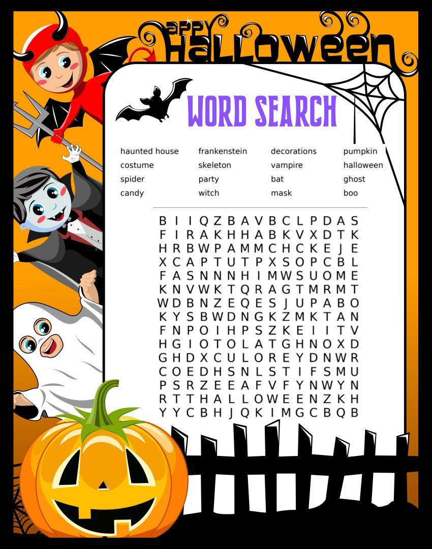 Printable Halloween Word Search Worksheets