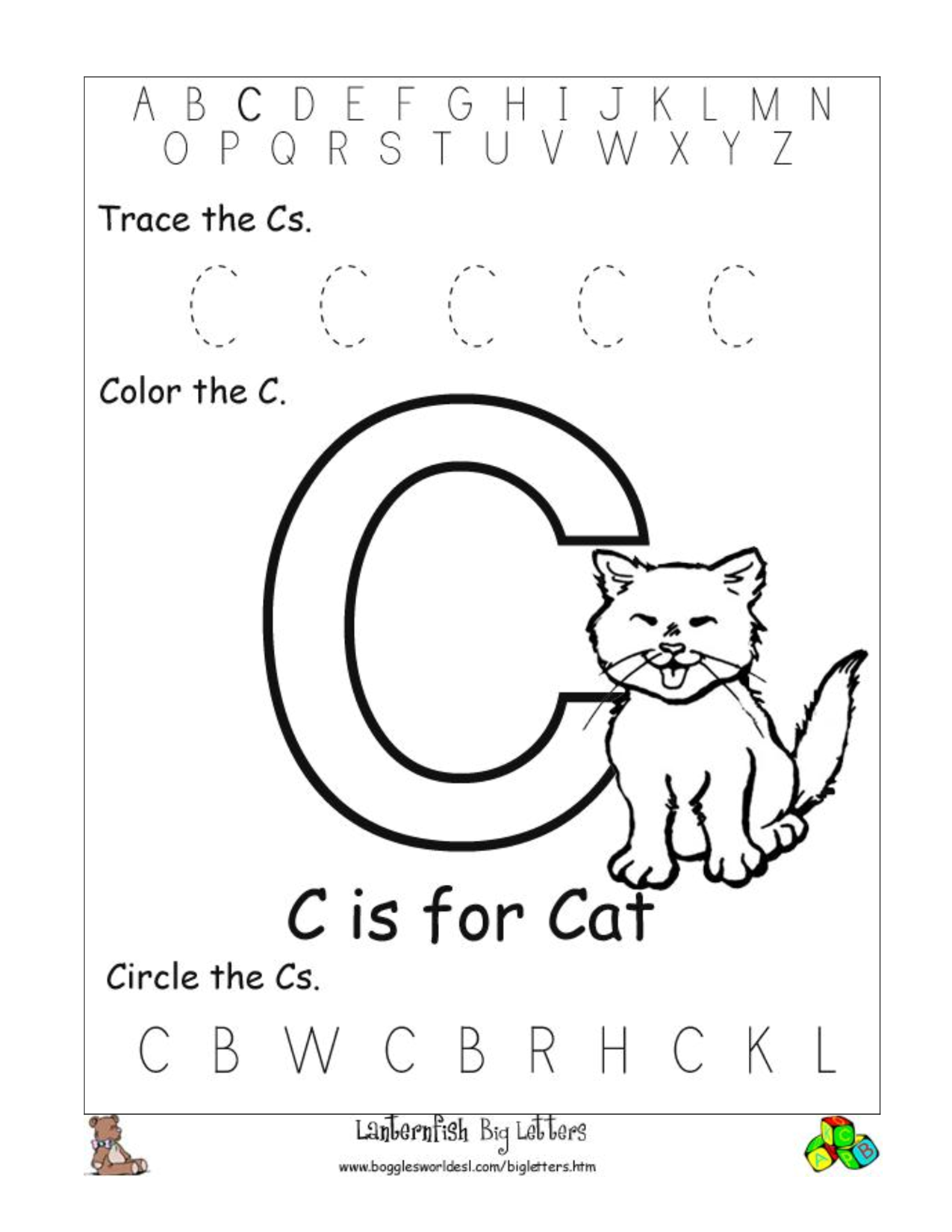 Worksheet Letter C Worksheets Preschool 5 best images of printable kindergarten worksheets letter c free worksheets