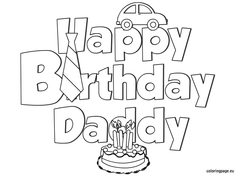 6 Images of Happy Birthday Dad Coloring Card Printables