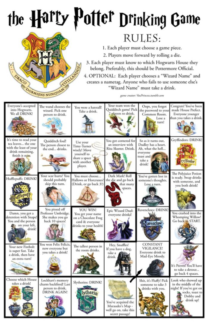 Harry Potter Drinking Game Board Printable