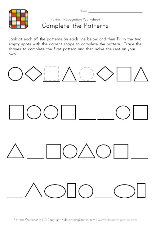 Shape Patterns Worksheets - Davezan