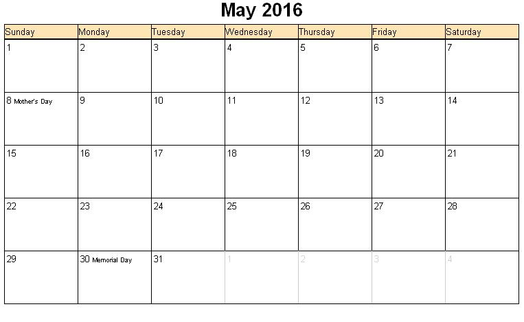 5 Images of May 2016 Calendar With Holidays Printable